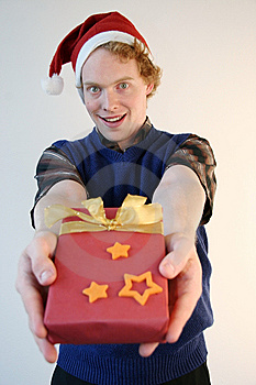 Nerd Giving Xmas Present Royalty Free Stock Photos - Image: 6793278