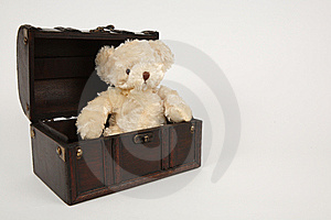 Box and teddy Royalty Free Stock Photo