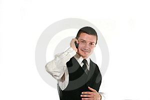 Men With Mobile In Vest Royalty Free Stock Images - Image: 6795969