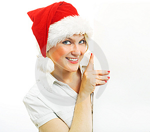 Mrs. Claus Holding Blank Paper. Stock Image - Image: 6797341