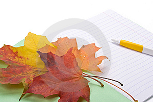 Writing-book, Pen And Autumn Leaves Royalty Free Stock Photography - Image: 6798737