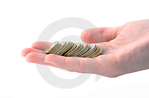 Stacked Euros In Hand Royalty Free Stock Photos - Image: 6799248