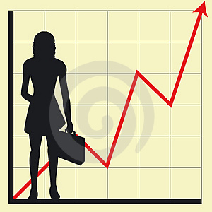 Business chart and woman