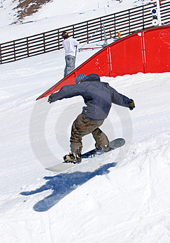 Snowboarder On Half Pipe Of Pradollano Ski Resort In Spain Stock Photos - Image: 680673