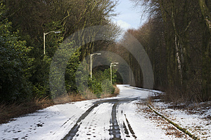 Snowy Lane 1 Stock Photography - Image: 681692