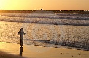 Girl Jumping At Zurriola's Beach. San Sebastian Royalty Free Stock Images - Image: 684879