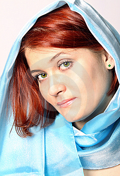 Girl With A Blue Scarf Stock Photo - Image: 6802960