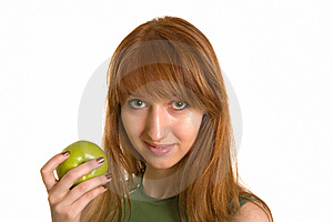 Beautiful Girl With Green Apple Stock Photography - Image: 6805142