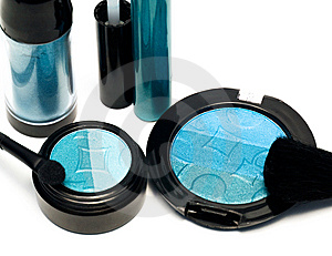 Blue Set For Make-up Stock Image - Image: 6809421