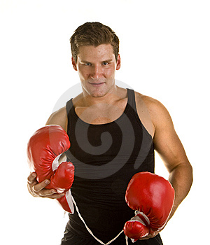 Boxer Holding Gloves Stock Image - Image: 6810531