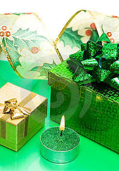 Golden Gift Box And Candle Stock Photos - Image: 6810653
