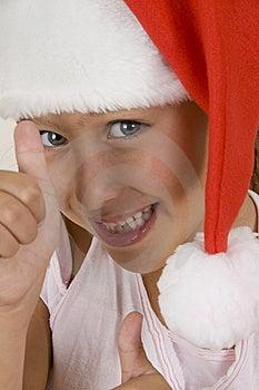 Happy Little Girl Wearing Christmas Hat Stock Photo - Image: 6810700