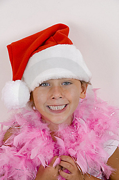 Smiling Cute Girl With Christmas Hat Stock Image - Image: 6810711