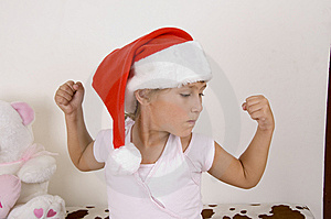 Little Girl Wearing Christmas Hat Royalty Free Stock Photo - Image: 6810715