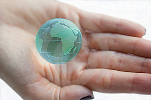 Earth Globe (Africa View) In Female Hands. Stock Photography - Image: 6812772
