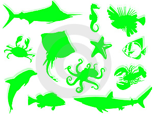 Sea-life Silhouette Royalty Free Stock Photo - Image: 6813155