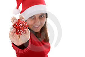 Young Santa Woman Holding Red Ribbon In The Hand Stock Image - Image: 6816571