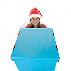 Young Santa Woman Holding Giant Blue Present Box Royalty Free Stock Photo - Image: 6816585
