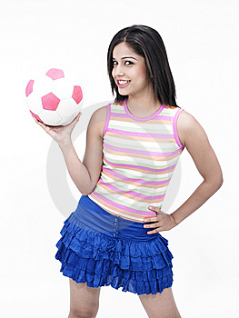Asian Girl With A Football Royalty Free Stock Images - Image: 6818479