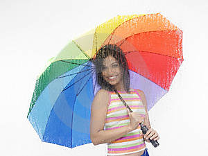 Girl With Rainbow Umbrella Stock Photography - Image: 6818582