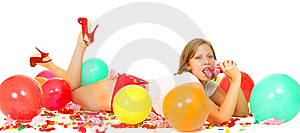 Girl Laying On Floor And Enjoying Her Candy Royalty Free Stock Photos - Image: 6819748