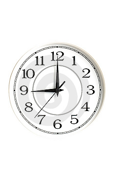 White clock showing nine o'clock isolated Royalty Free Stock Image