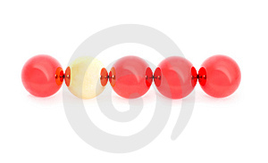 Four Red And One Yellow Christmas Balls Stock Photography - Image: 6826232