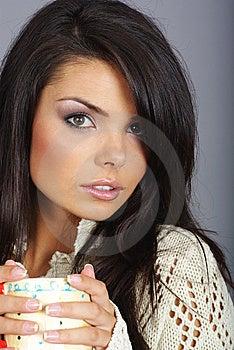 Beautiful Girl Holding Hot Tea Cup Stock Photo - Image: 6826300