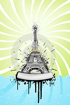 Eiffel Tower Ink Explosion Royalty Free Stock Images - Image: 6836499