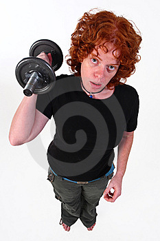 RedHead Woman Weight Lifting Royalty Free Stock Image - Image: 6839196