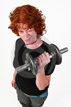 RedHead Woman Weight Lifting Royalty Free Stock Photo - Image: 6839215