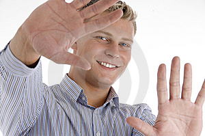 Happy Man Showing His Palms Royalty Free Stock Photography - Image: 6844717