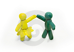 Two Clay Figures Dancing Stock Photography - Image: 6850732
