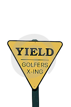 Isolated Yield Golfer Crossing Sign Stock Photos - Image: 6851293