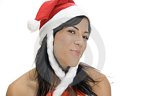 Portrait Of Female With Santa Hat Stock Photography - Image: 6852132
