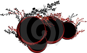 Red And Black Circles With Flowers Stock Image - Image: 6855031
