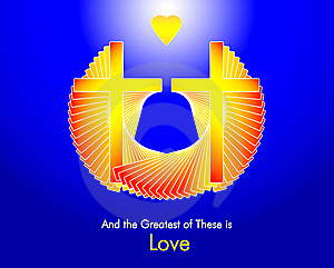 Love - Two Crosses And A Golden Heart Stock Images - Image: 6857984