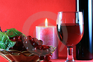 Red Wine with Wine Bottle