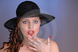 Attractive Young Lady In Black Hat Stock Photography - Image: 6861292