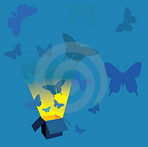 Open Box And Blue Butterflies Stock Image - Image: 6863251