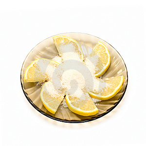 Lemon Slices And Sugar On Plate Stock Images - Image: 6864454