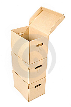 One Open Box On A Pile Royalty Free Stock Photography - Image: 6865417