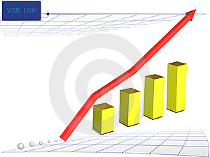 Diagram With A Red Arrow Of Rise. Stock Photography - Image: 6865972