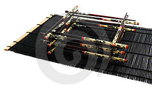 Chopsticks On The Bamboo Rug Stock Photo - Image: 6866230