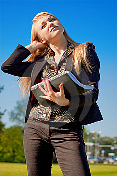 Businesswoman Holding Writing-book Royalty Free Stock Photos - Image: 6868238