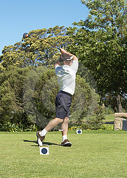 Golfer Hitting The Ball Off The Tee Box Stock Images - Image: 6869734
