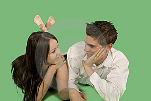 Couple Talking On Floor Royalty Free Stock Image - Image: 6869866