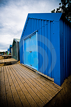 Colourful Beach Huts With Dramatic Sky Royalty Free Stock Photos - Image: 6870568