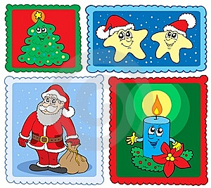 Christmas Post Stamps Collection 2 Stock Photo - Image: 6876760
