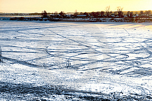 Tracks On Frozen River Stock Photography - Image: 6879822